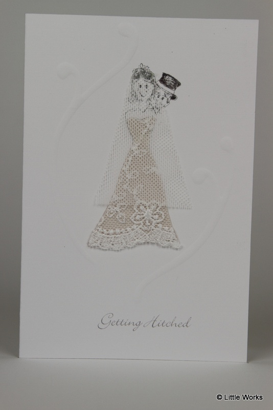 Getting Hitched  Wedding card with bride wearing lace and a tulle veil with embossing