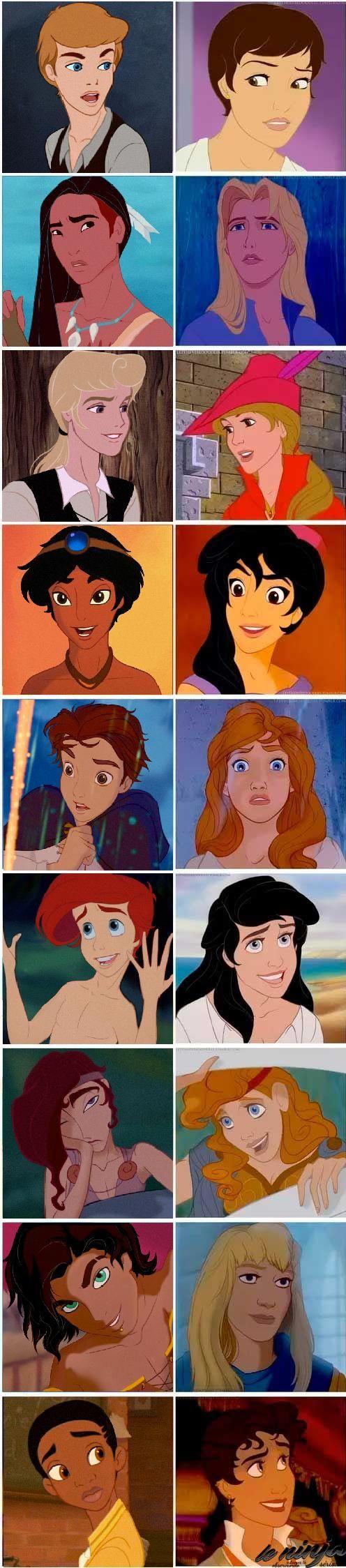 Disney Prince/Princess genderbend. and hercules looks really good as a girl that is creepy