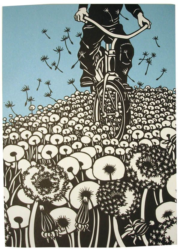 Nikki McClure - Bicycles and Dandelions. Love how dandelions take flight. There's something about their freedom to fly that is beautiful to see - like a kid on a bicycle, taking off on their own steam, the world seems like its theirs to explore. THECYCLINGBUG.CO.UK #thecyclingbug #cycling #bike