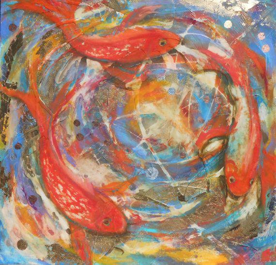 Koi Fish Wishing Well 30 x 30 High Gloss Textured by AtelierBaba