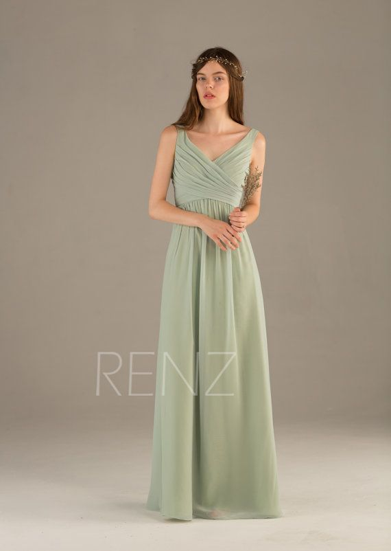 2015 Dusty Shale Bridesmaid dress V neck Wedding dress by RenzRags