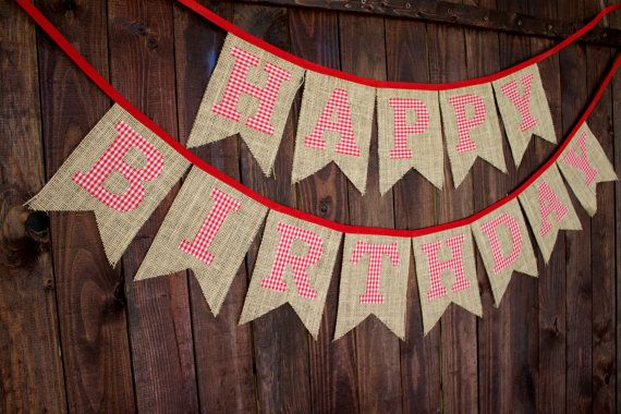Cowboy Cowgirl Gingham Farm Country Picnic Burlap Happy Birthday Banner Red Fabric for First Birthday Party Decoration or Photo Prop by MsRogersNeighborhood Etsy shop