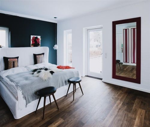 .: Blue Wall, Wall Color, Bedrooms, Black Wall, Dark Wall, Accent Walls, Bedroom Ideas