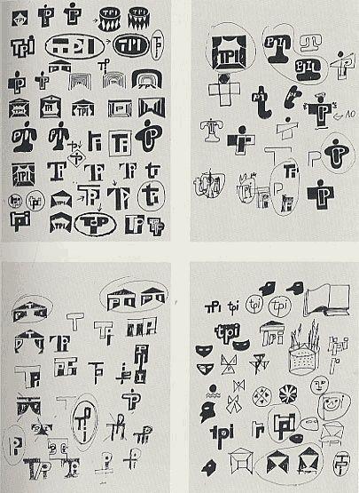 1959, Albe Steiner: studi per il marchio del Teatro Popolare Italiano