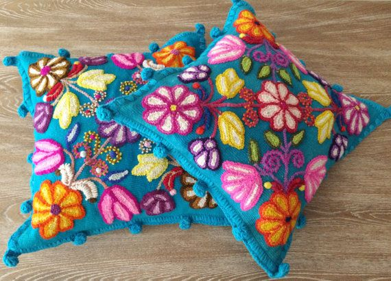 Turquoise Pillow cushion covers Hand embroidered flowers Sheep & alpaca wool 16 x 14 handmade Set of 2