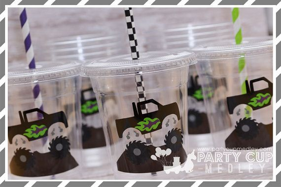 Monster Truck Birthday Party Cups-Kids Party by PartyCupMedley