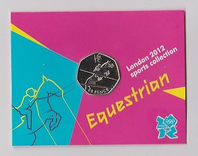 Equestrian- rare 50p #olympic 2012 #london fifty pence #uncirculated coin in fold,  View more on the LINK: http://www.zeppy.io/product/gb/2/322393132131/