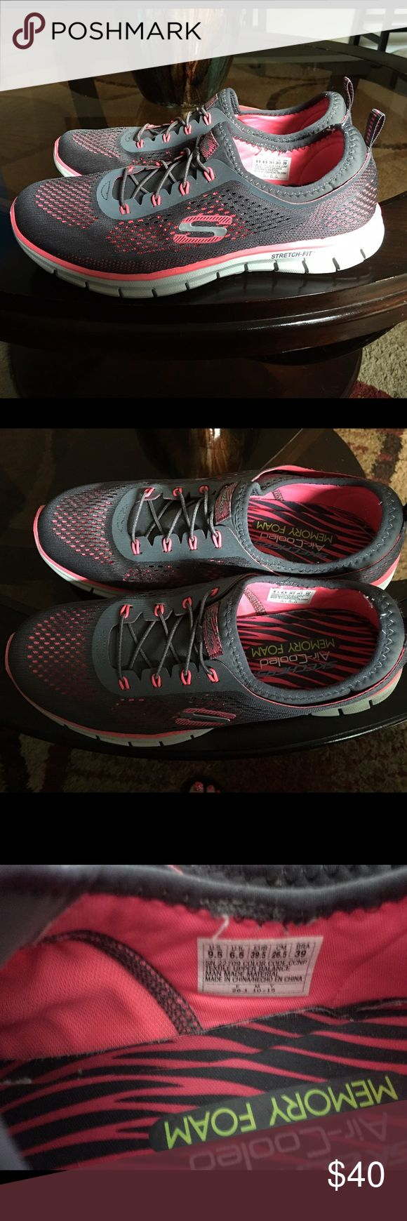 New Skechers Cooling Memory Foam Sneakers 9.5 Like new skechers cooling sneakers with memory foam, size 9.5 but can fit a 9 too. So nice and comfortable! Slip on for an easy on the go look! Skechers Shoes Athletic Shoes