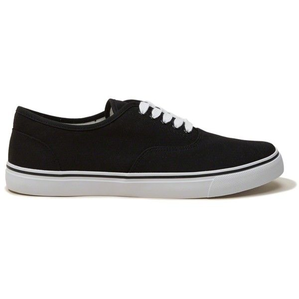 Hollister Lo Sneaker (705 HNL) ❤ liked on Polyvore featuring men's fashion, men's shoes, men's sneakers, black, mens beach shoes, mens rubber sole shoes, mens black shoes, mens black lace up shoes and mens black sneakers