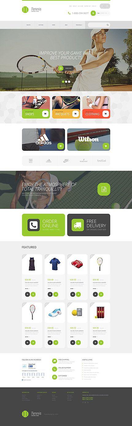 Tennis Equipment Online Store #OpenCart #webtemplate #themes #business #responsive #template
