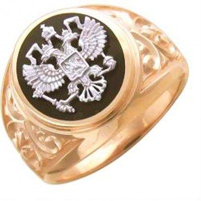 Кольцо Герб с ониксом из комбинированного золота, цена снижена на 5%..