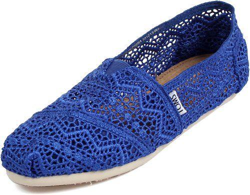 TOMS Women's Classics Crochet Shoe Cobalt Blue Size 5 B(M) US