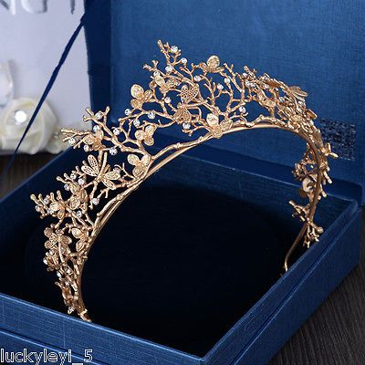 Gold Dragonfly Baroque Bridal Crown Headband Wedding Evening Tiara Headpiece