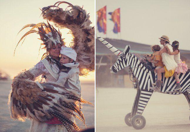 Todos os anos, cerca de 50 mil pessoas se reúnem em um deserto no estado de Nevada, nos EUA, para participar de um dos maiores festivais de arte e música do mundo, o Burning Man. Mas o que leva pais a trazerem seus filhos pequenos para embarcar nessa viagem? Segundo as lentes da fotógrafa norte-americana Zipporah Lomax, a resposta é a música, a livre expressão do corpo, as performances artísticas e um universo onde praticamente tudo pode acontecer. Se crianças gostam de sonhar e imaginar, é…