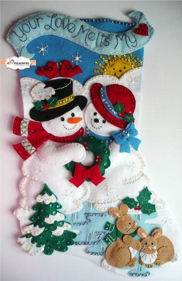 Bota de Natal Feltro Boneco de Neve