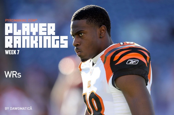 Player Rankings - Week 7 - Wide Receivers -  A.J. Green is ranked #1 at the WR position thru the first 6 weeks.