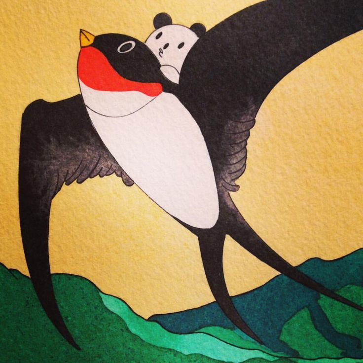 もう7月だ。。今年も早いですね。。 #ボールペン #ballpointpen #パンダ #panda #illustration #つばめ #燕 #リキテックス #リキテックスリキッド #liquitex #liquitexliquid #art #artwork #アート #あごぱん #飛ぶ #鳥 #fly #bird