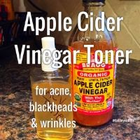Recently I've been usingBraggs Apple Cider Vinegaras facial toner to  clear acne, reduce pore size, and fend off wrinkles. Apple cider vinegar is  an anti-inflammatory, anti-viral, and anti-fungal. It also restores skin's  pH to correct levels helping to restore moisture and elasticity.
