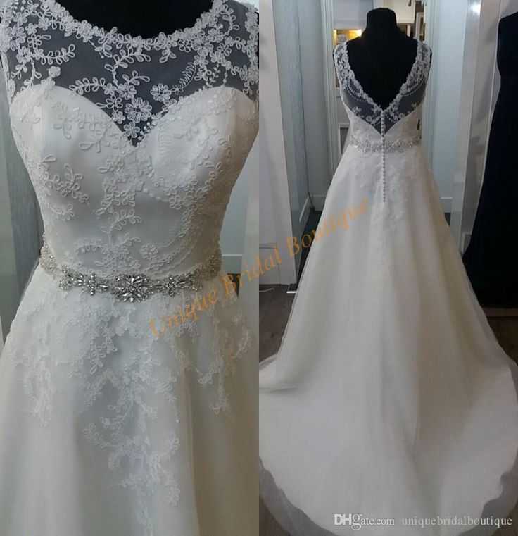 Country Wedding Dresses Cheap 2017 With Crew Neck And V Back Real Image Lace Tulle A Line Vestidos De Novia With Long Train & Crystals Sash Wedding Dress Buy Online Wedding Dress Online Shopping From Uniquebridalboutique, $126.44  Dhgate.Com