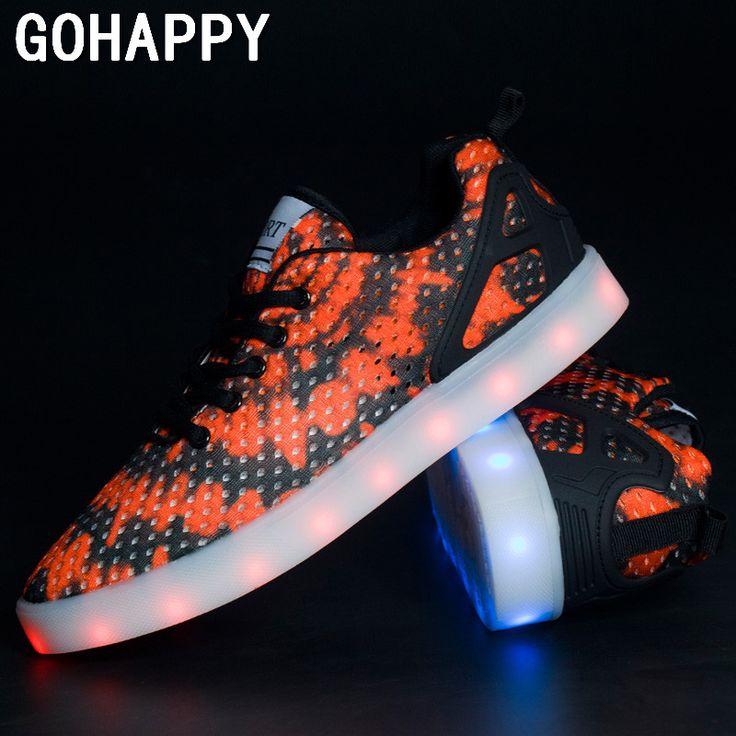 Из светодиодов для взрослых из светодиодов свободного покроя мужской обуви из светодиодов светящиеся обувь 2016 Большой размер загораются женщин свободного покроя для взрослых корзина роковой