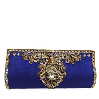 Royal Blue Art Silk Clutch Bag