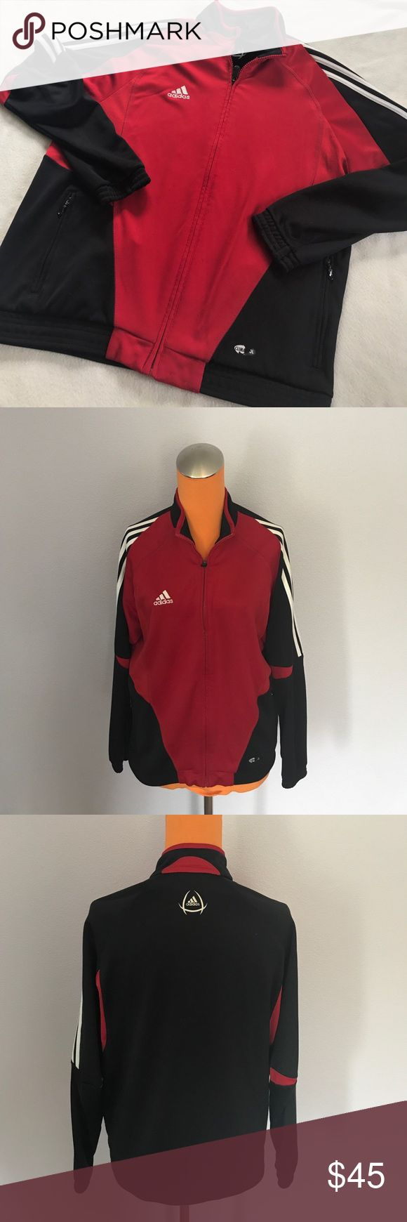 ADIDAS Red and Black with White Stripe Zip Up Red body. Has iconic three stripe up the side of sleeves. Zips on the front. Side zipper pockets. Great soccer warm up or other athletic jacket. Bundle 2+ items for a discount. Adidas Jackets & Coats Performance Jackets