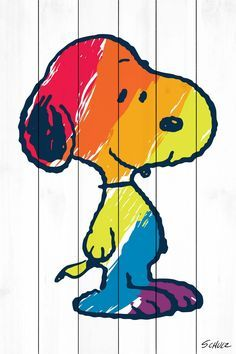 Description: Peanuts icon, Snoopy, in all the colors of the rainbow! This Snoopy art, printed on white wood, is a darling addition to any room in a Peanuts fan's home. - Peanuts wall art featuring Sno