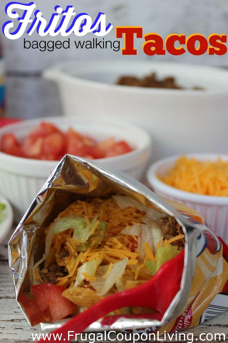 Frugal Coupon Living's Fritos Bagged Walking Tacos Recipe. Perfect for summer, block parties, backyard fun, and camping. Also use Doritos. Pin to Pinterest