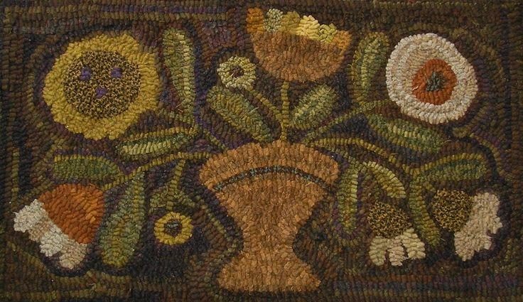 Hand Made Primitive Hooked Rug Prim Summer Posies Folk Art Early Style   eBay