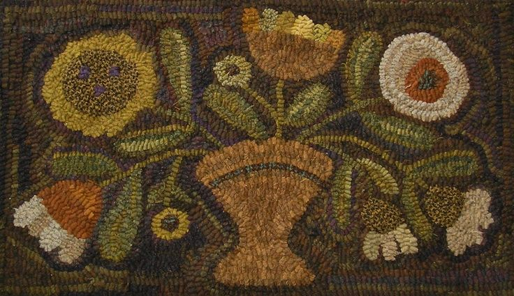 Hand Made Primitive Hooked Rug Prim Summer Posies Folk Art Early Style | eBay