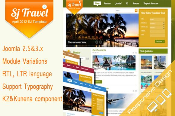 SJ Travell II is based on YT Framework v2 and designed for Joomla 2.5 & 3.x. This is a cool template for travel sites with many extensions supported!