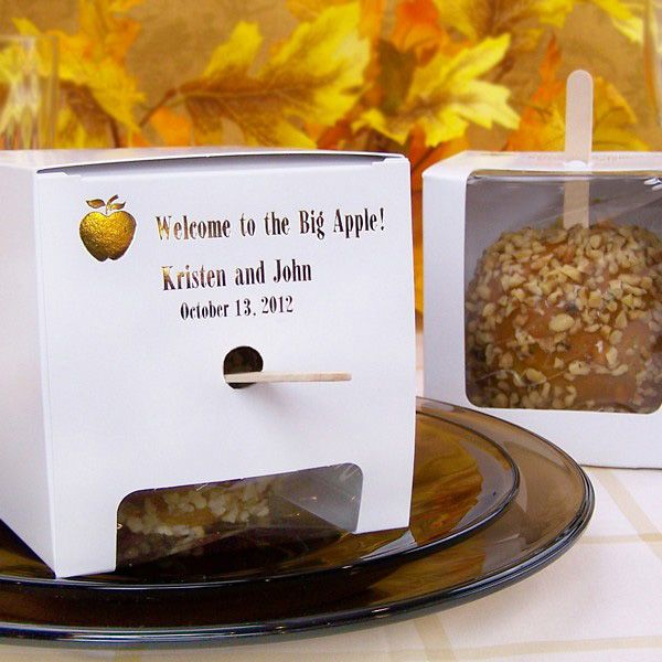 Personalized Candy Apple Gift Boxes #fallwedding #apples