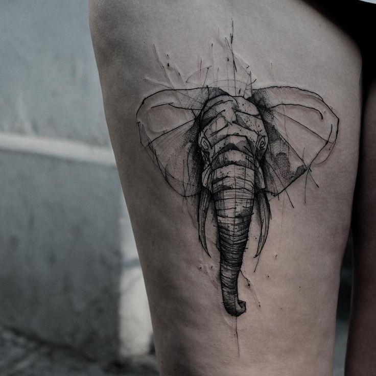 Resultado de imagen de tatuaje elefante boceto