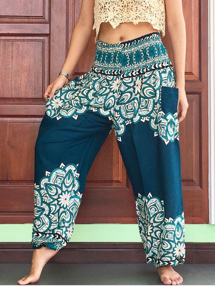 womens casual aladdin summer trousers yoga harem cargo balloon pants waist smock #BillionsChic #Baggy #Summer