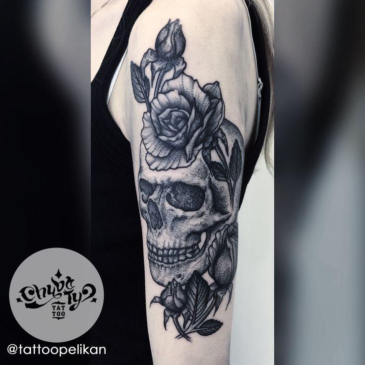 skull stuff by @tattoopelikan #chybatytattoo #katowice #tattoo #silesia #dotwork #dotworktattoo #dots #dot #dottattoo #darkart #polandtattoos #black #ink #blackwork #chybaty #rose #skull #skulltattoo #rosetattoo