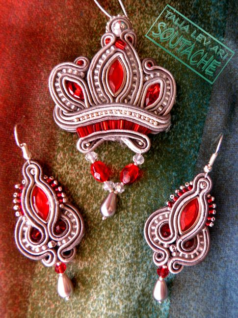 Soutache set of earrings and necklace by caricatalia