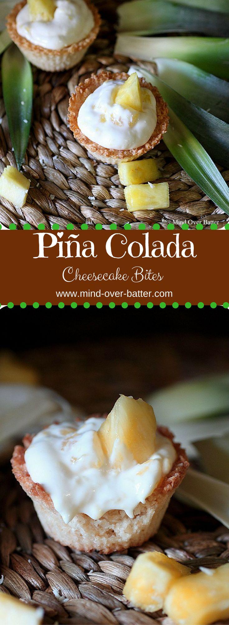 Half-Baked Piña Colada Cheesecake Bites