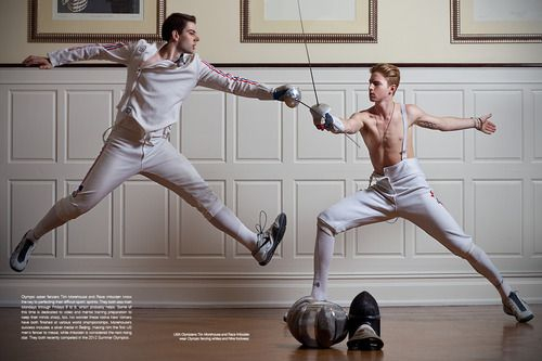 Photography by Iris Brosch Olympic Fencers: Tim Morehouse and Race Imboden. They're holding the wrong weapons!