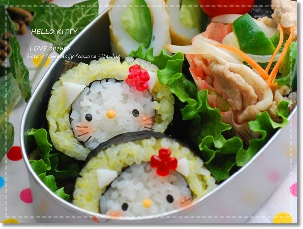 sushi roll kitty bento