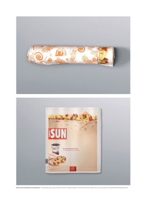 McDonald's featuring Sunday Sun Advertising: Burrito. Interesting concept of packaging. nice example of guerilla advertising