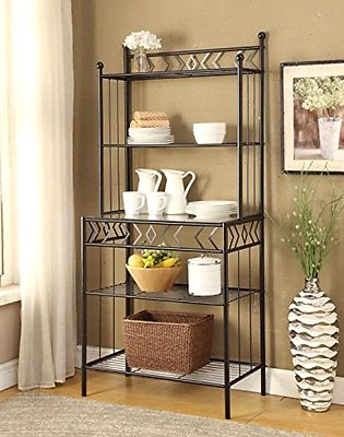 Bakers Racks 20482: 5-Tier Black Metal Glass Shelves Kitchen Bakers Rack Wine Bottle Home Kitchen -> BUY IT NOW ONLY: $107.3 on eBay!