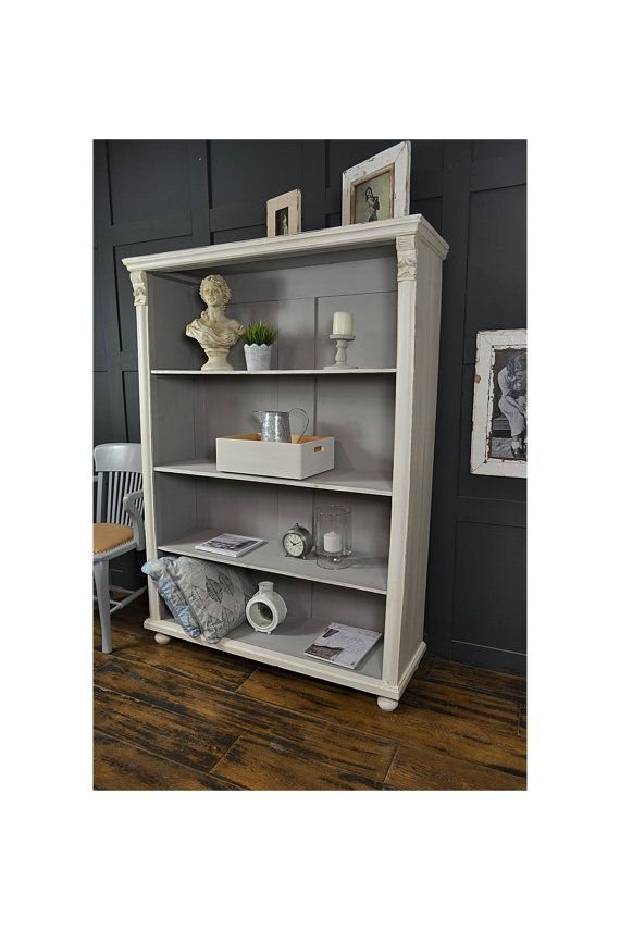 White u0026 Grey Antique Pine Shabby Chic Bookcase - FREE UK DELIVERY