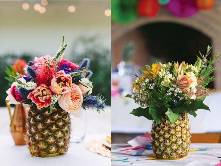 7 centros de mesa para la decoraci n de bodas originales - Centros de mesa con pinas ...