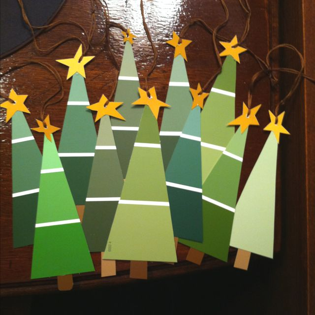 A small assortment of my forest tree gift tags made from paint swatch cards. I originally saw this idea here on Pinterest.