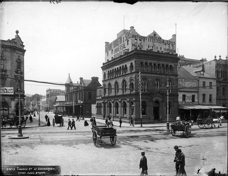 Original Anthony Horderns before it burnt down, cr George and Liverpool Streets, Sydney  The nightwatchman was killed in the fire
