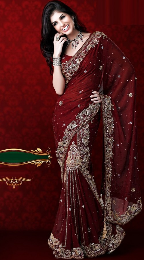RB414520 Dark Red Richy Heavy Work Saree - IndiaBazaarOnline Shopping Store - Shop with confidence