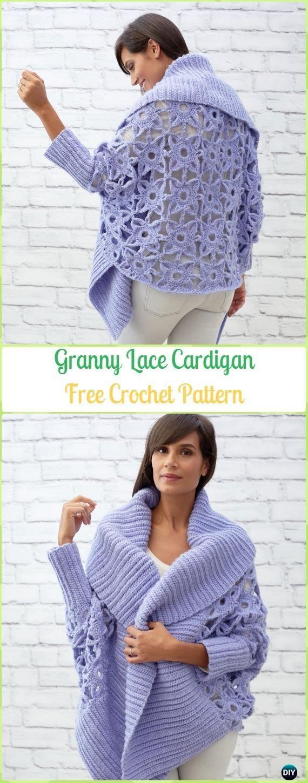 Crochet Granny Lace Cardigan Free Pattern - Crochet Women Sweater Coat & Cardigan Free Patterns