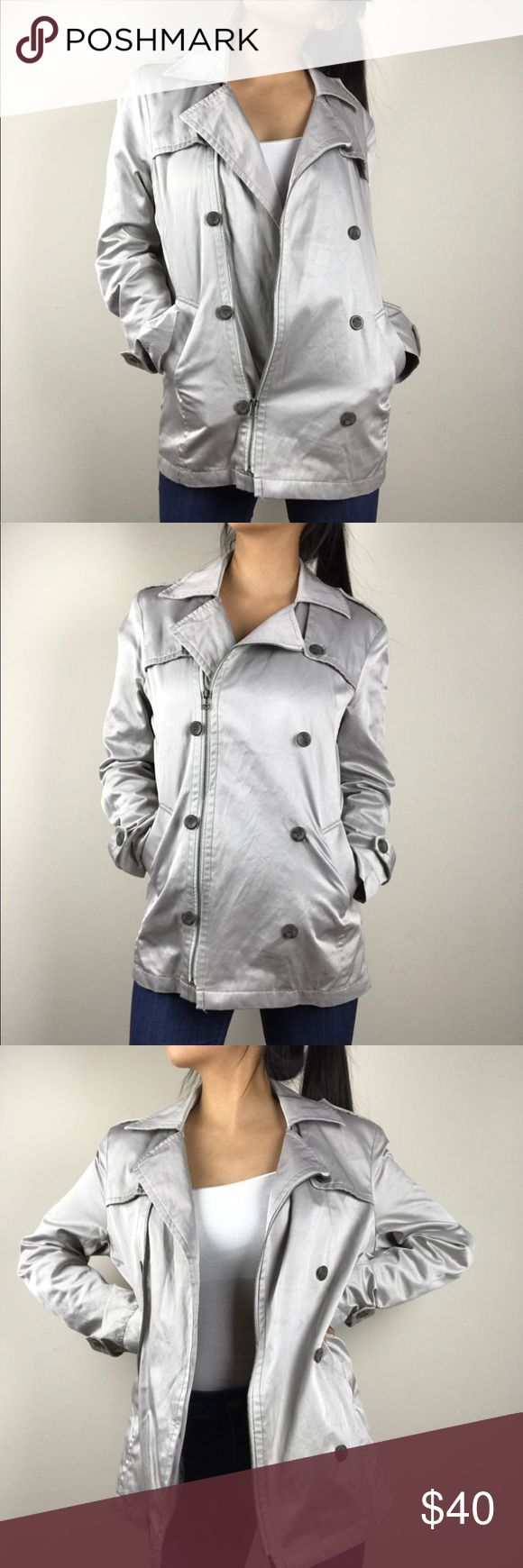 METALLIC TRENCH JACKET THIS COLOR IS SO FABULOUS AND THE JACKET IS STYLISH!!  MODEL IS 5'5 1/2,   OPEN TO OFFERS :) Urban Behavior Jackets & Coats