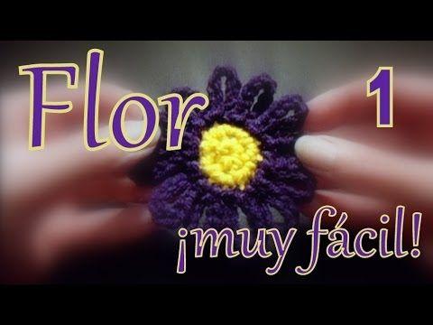 Como hacer una flor muy fácil al crochet (easy crochet flower) 1° parte -tejido para zurdos-