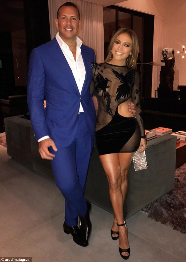 Sheer brilliance: Alex Rodriguez and Jennifer Lopez celebrated their birthdays in Miami on Saturday night